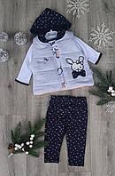 Детский костюм 3-12 мес двунитка для девочек Турция оптом
