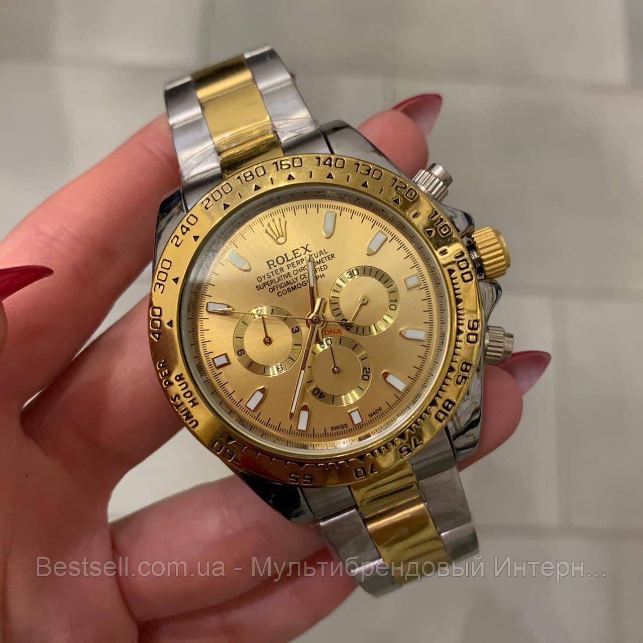 Часы мужские наручные механические с автоподзаводом Rolex Daytona Automatic Silver-Gold Реплика ААА Ролекс