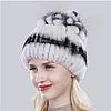 Белая женская шапка из меха кролика рекс и чернобурки