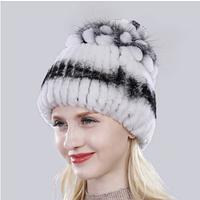 Белая женская шапка из меха кролика рекс и чернобурки, фото 1