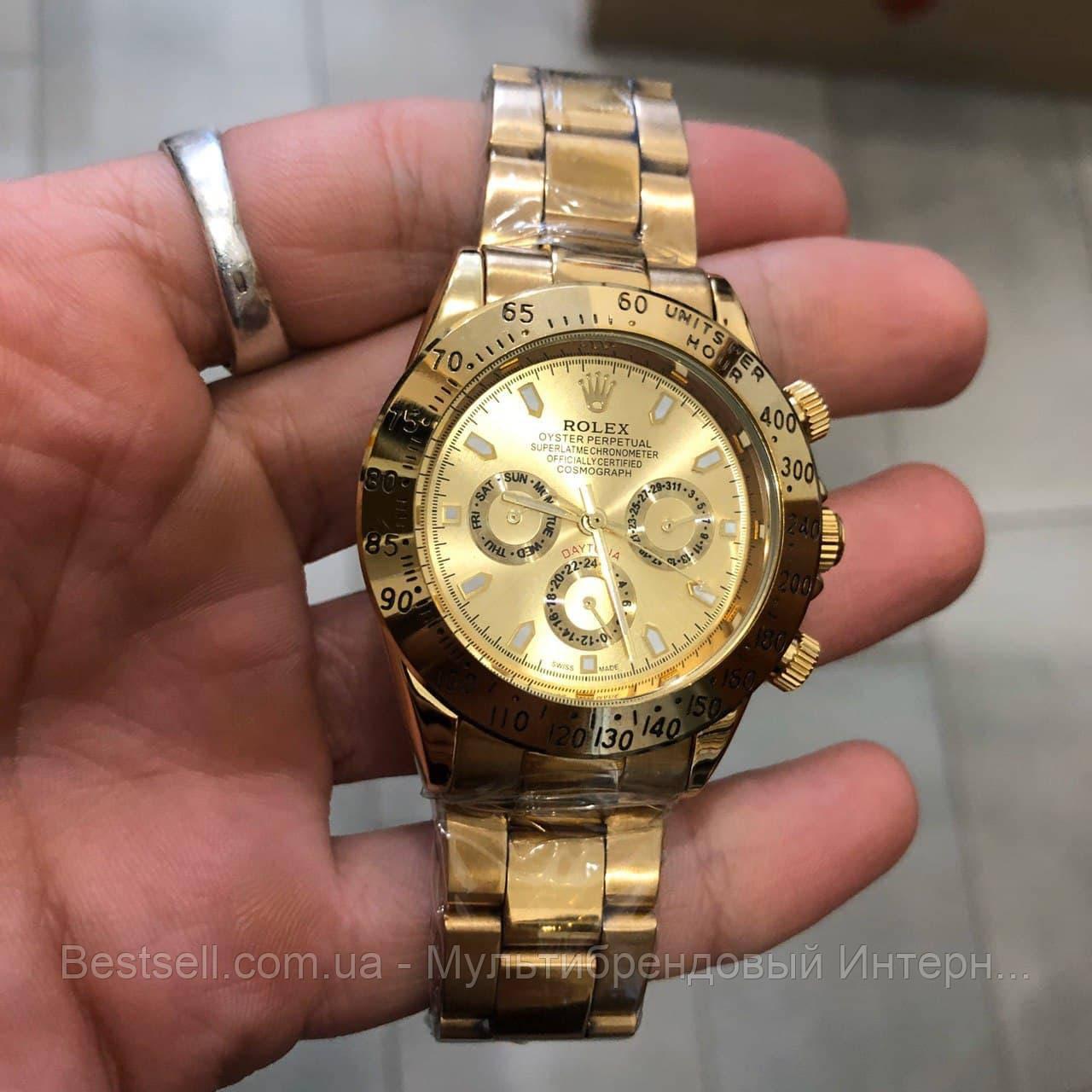 Часы мужские наручные механические с автоподзаводом Rolex Daytona Automatic All Gold Реплика Ролекс