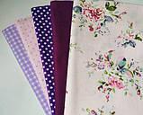 """Набор хлопковой ткани для рукоделия """" Винтажные цветы в горошек"""", фото 2"""