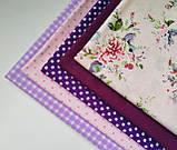 """Набор хлопковой ткани для рукоделия """" Винтажные цветы в горошек"""", фото 3"""