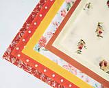 """Набор хлопковой ткани для рукоделия """" Желто-терракотовый с цветами и горохом"""", фото 2"""