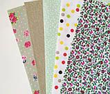 """Набор хлопковой ткани для рукоделия """" Мелкие цветы,горошек,листики"""", фото 2"""
