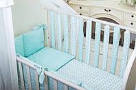 Бортики в детскую кроватку Хлопковые Традиции 15х50 см 12 шт Мятный, КОД: 1639804