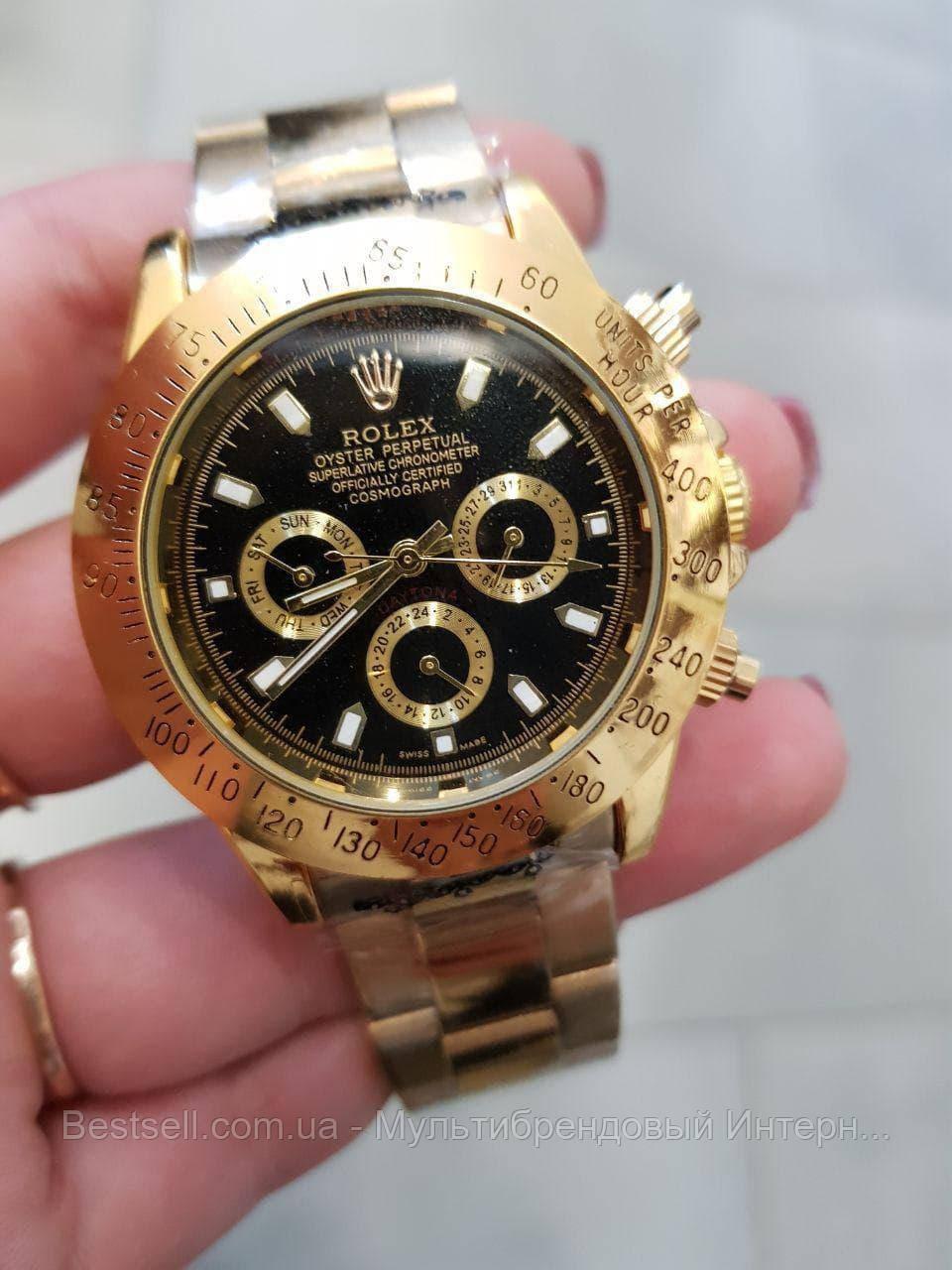 Часы мужские наручные механические с автоподзаводом Rolex Daytona Automatic Gold-Black Реплика ААА Ролекс