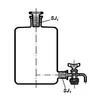 Бутыль Вульфа с краном, 5000мл, Boro