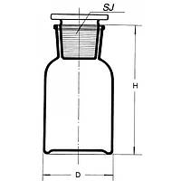Бутыль 125 мл св.стекло, шир. горл.,BORO