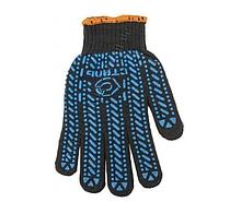 Перчатки рабочие 6 нитей, ХБ черные с синим ПВХ Сталь 21106
