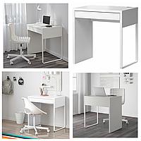 Письменный стол белый IKEA MICKE 73x50 см компьютерный столик, стол для ноутбука, рабочий ИКЕА МІККЕ