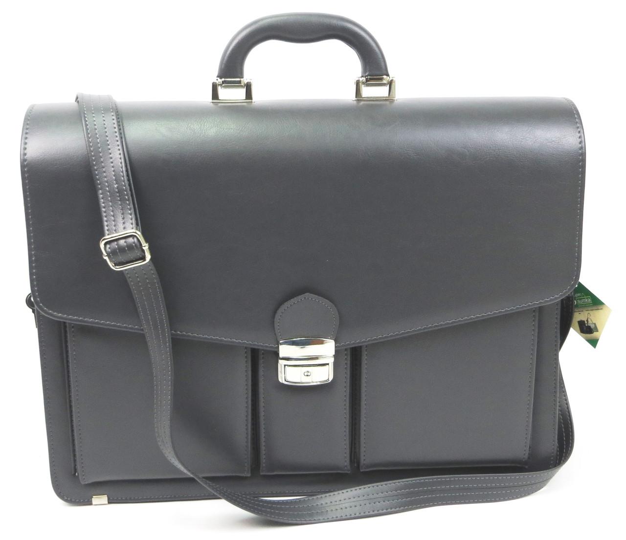 Портфель классический из эко кожи AMO SST02 серый