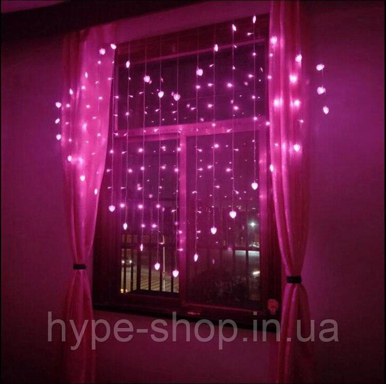 Ночник в комнату в форме сердца с бабочками 3х2 м Розовая