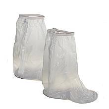 Высокие бахилы для обуви от дождя и снега из ПВХ на замке-молнии, прозрачный 43-46