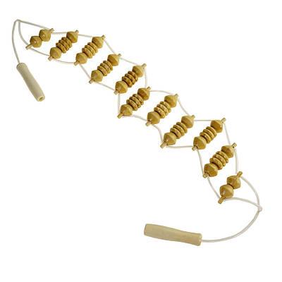 Стрічковий роликовий масажер для спини дерев'яний з ручками