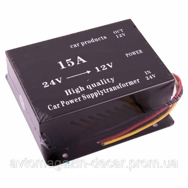 Преобразователь  24V-12V 15А 6 проводов PowerOnePlus  (Box) GS-D15A