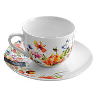 """Чашка 100мл з блюдцем Ø12,5 см """"Aquarelle"""". Артикул: 21-244-010. TM Krauff."""