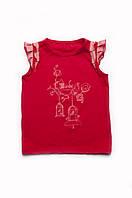 Стильный топик для девочки, детская красная футболка