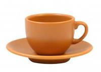 Чашка для кофе 95мл з блюдцем 12см Теракота керамика 24-237-011 Keramia.