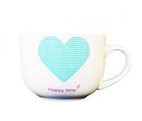 """Чашка """"Happy Time"""" блакитна 520мл. Артикул: 21-272-001. TM Keramia."""