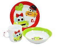 Набір дитячий 3 пр. Машинка (тарілка мілка  18см, тарілка супова 15 см,  чашка 230 мл). Артикул:22-194-076 ТМ