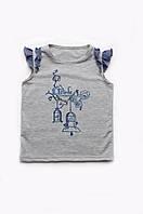 Футболка для девочки, футболка без рукавов, детская серая футболка