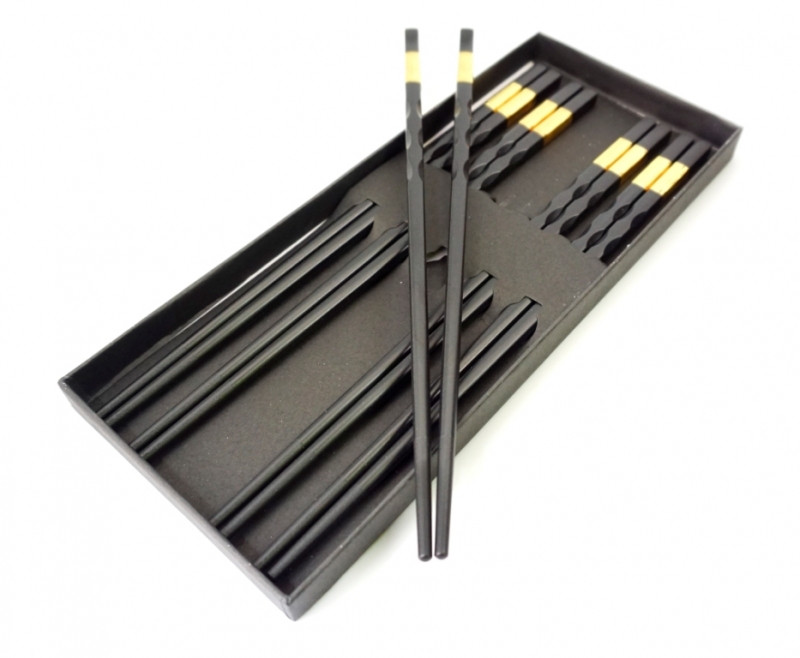 Палочки для еды эбонитовые чёрные набор 5 пар №2