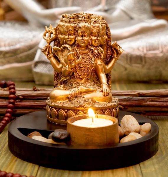 Статуэтка Шива с подсвечником в золотом цвете 13,5 см