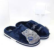 Домашние женские мягкие тапочки с котиками P25-синие Jomix 37р.