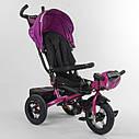 Трехколесный велосипед бордовый Best Trike 6088 F поворотное сидения складной руль надувные колеса фара с USB, фото 3