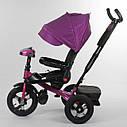 Трехколесный велосипед бордовый Best Trike 6088 F поворотное сидения складной руль надувные колеса фара с USB, фото 4