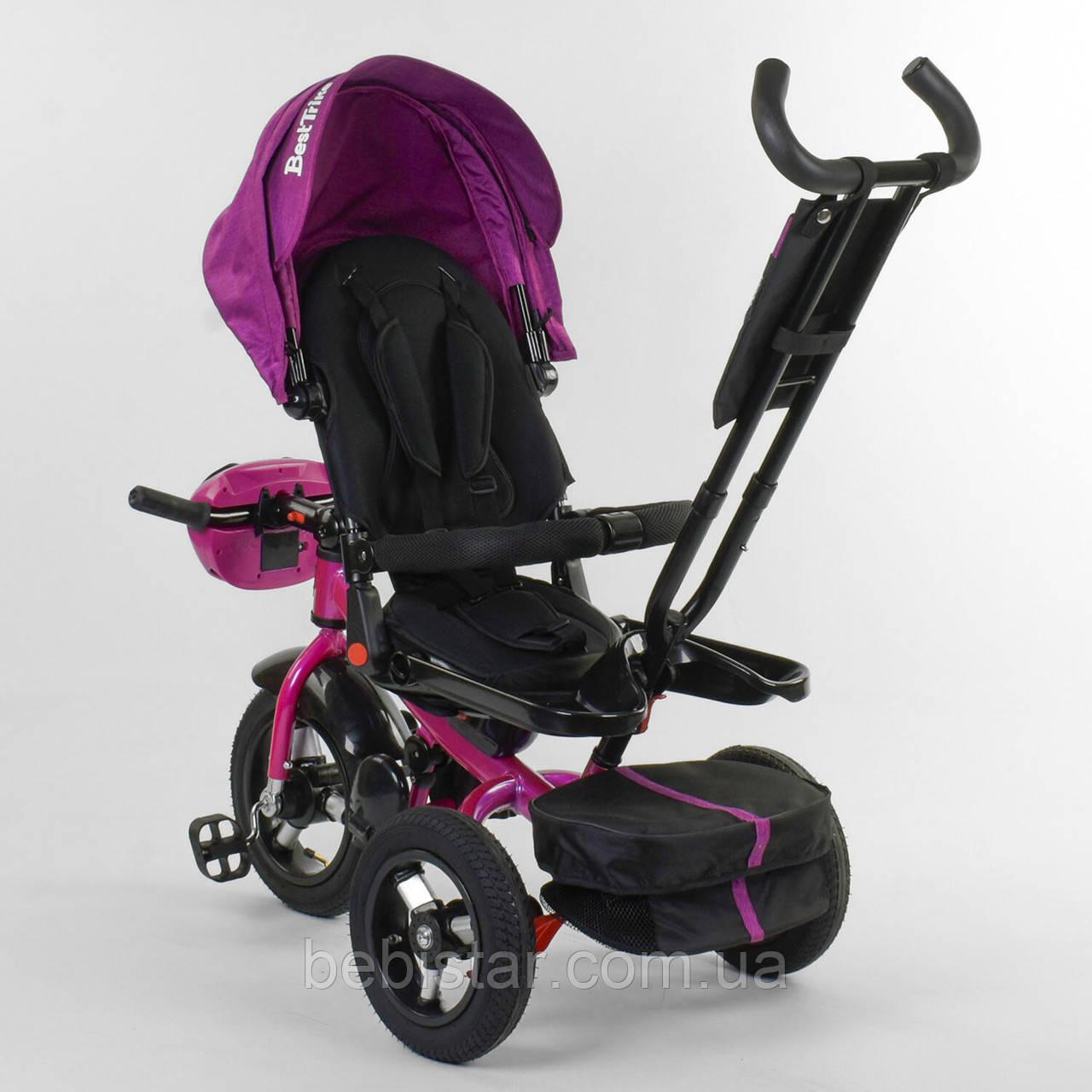 Трехколесный велосипед бордовый Best Trike 6088 F поворотное сидения складной руль надувные колеса фара с USB