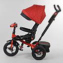 Трехколесный велосипед красный Best Trike 6088 F поворотное сидения складной руль надувные колеса фара с USB, фото 3