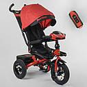 Трехколесный велосипед красный Best Trike 6088 F поворотное сидения складной руль надувные колеса фара с USB, фото 4