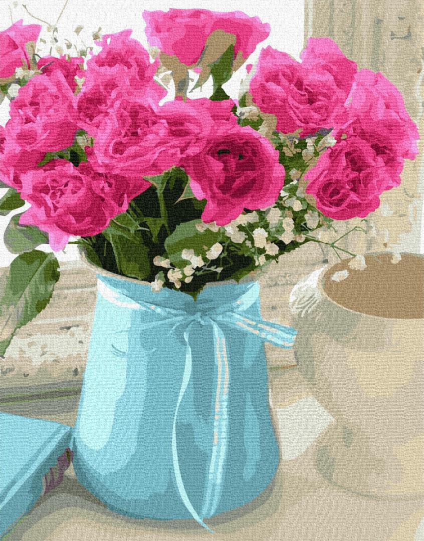 Картина рисование по номерам BrushMe Букет чайных роз GX27194 40х50см набор для росписи, краски, кисти, холст