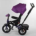 Трехколесный велосипед фиолетовый Best Trike 6088 F поворотное сидения складной руль надувн колеса фара с USB, фото 2