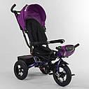 Трехколесный велосипед фиолетовый Best Trike 6088 F поворотное сидения складной руль надувн колеса фара с USB, фото 5