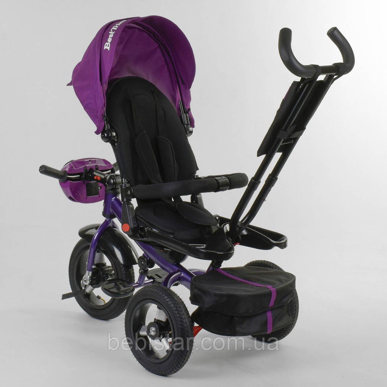 Трехколесный велосипед фиолетовый Best Trike 6088 F поворотное сидения складной руль надувн колеса фара с USB