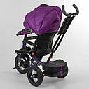 Трехколесный велосипед фиолетовый Best Trike 6088 F поворотное сидения складной руль надувн колеса фара с USB, фото 4
