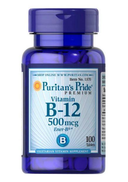 Puritan's Pride Vitamin B-12 500 mcg, Витамин B12 (100 таб.)