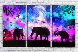 Картина модульная HolstArt Стильные слоны 54,5*94 см арт.HAT-289