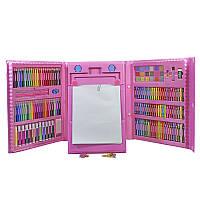 Набор для детского творчества и рисования Lesko Super Mega Art Set 208 предметов Pink (4696-13586)