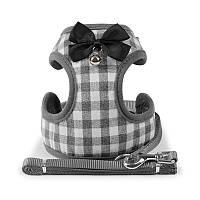 Шлея для собак с поводком бабочка и колокольчик Taotaopets 232216 L Grey (5520-18196)