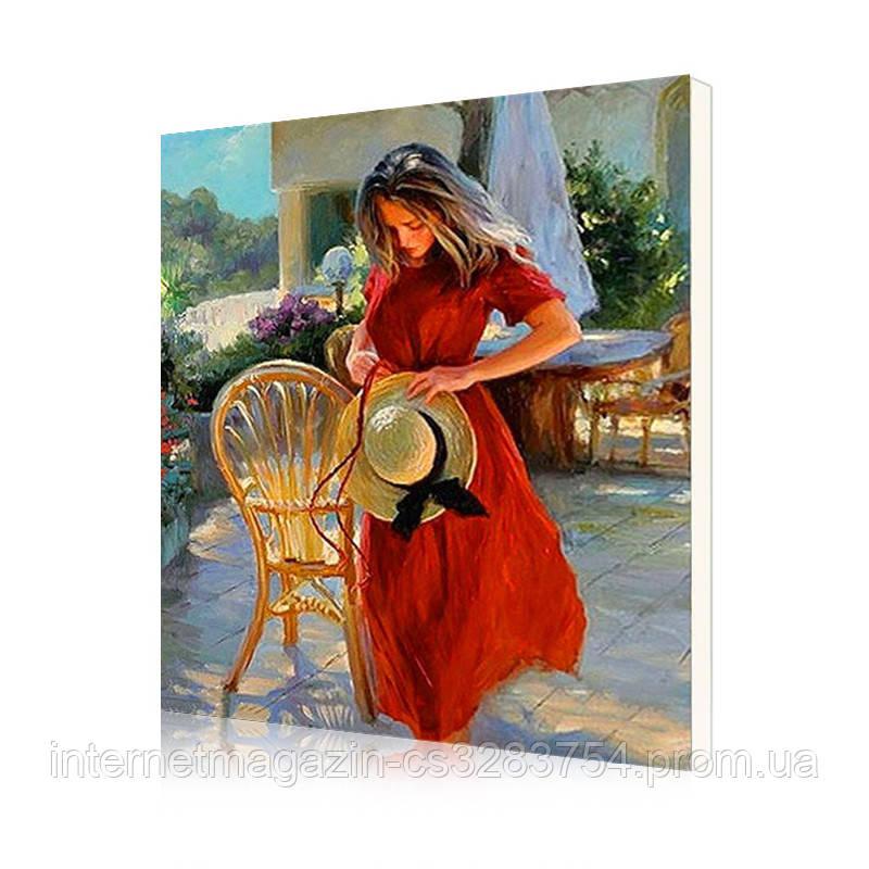 """Картина по номерам Lesko DIY PH9447 """"Девушка с соломенной шляпой"""" 40х50см (5731-19211)"""