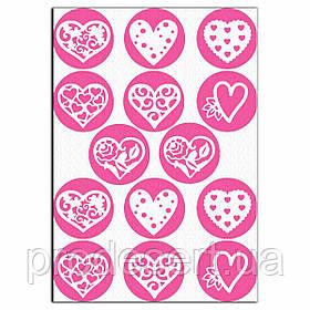 Капкейки-6 см Сердечки 1 вафельная картинка