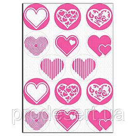 Капкейки-6 см Сердечки 2 вафельная картинка