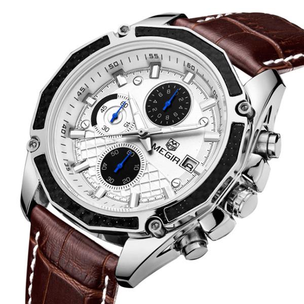 Megir Мужские классические кварцевые часы Megir Chronometr 1045