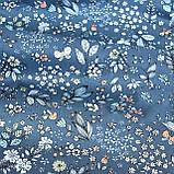 Ткань хлопок мелкие цветочки и листики на джинсовом фоне, фото 2