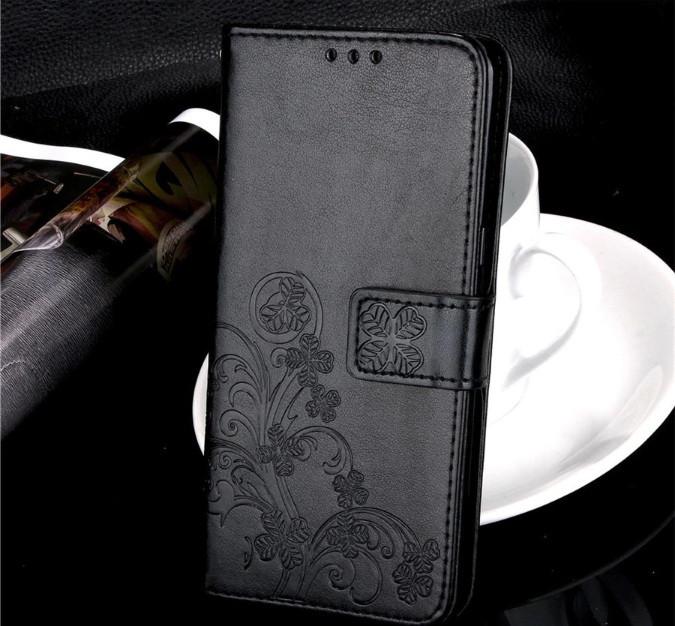 Чехол Clover для Samsung Galaxy A50 2019 книжка с цветком (черный)