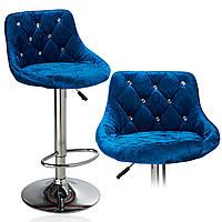 Стул барный хокер Homart DM-931 велюр голубой (9241)